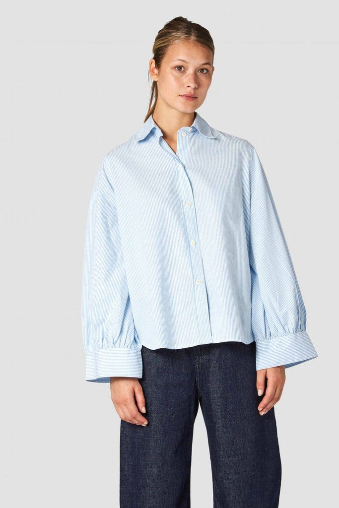 Aizen Blue Fine Stripe Blouse, Womenswear, Kings Of Indigo, Milu James St