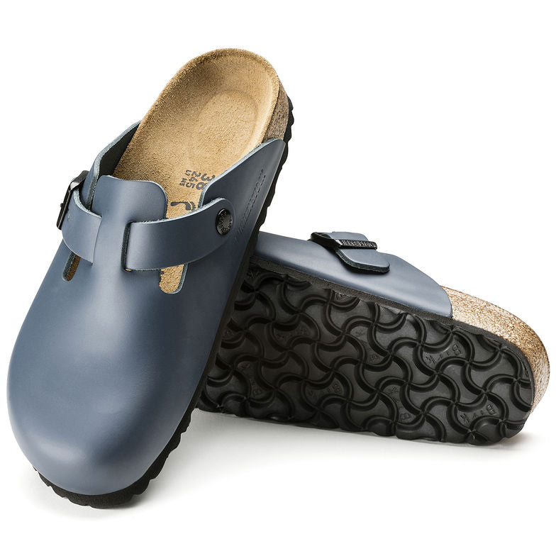 Boston Oiled Leather in Blue (Soft-Footbed), Sandals, Birkenstock, Milu James St