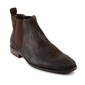 Camden oiled leather nu-buck Chelsea boot in chocolate, Boots, Croft, Milu James St