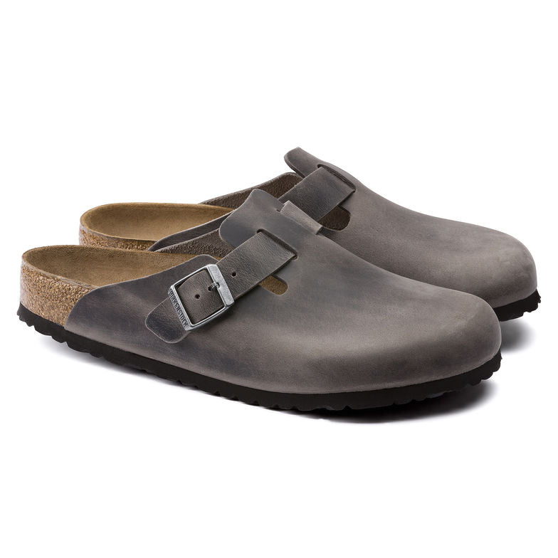 Boston Oiled Leather in Iron (Soft-Footbed), Slides & Slip-Ons, Birkenstock, Milu James St