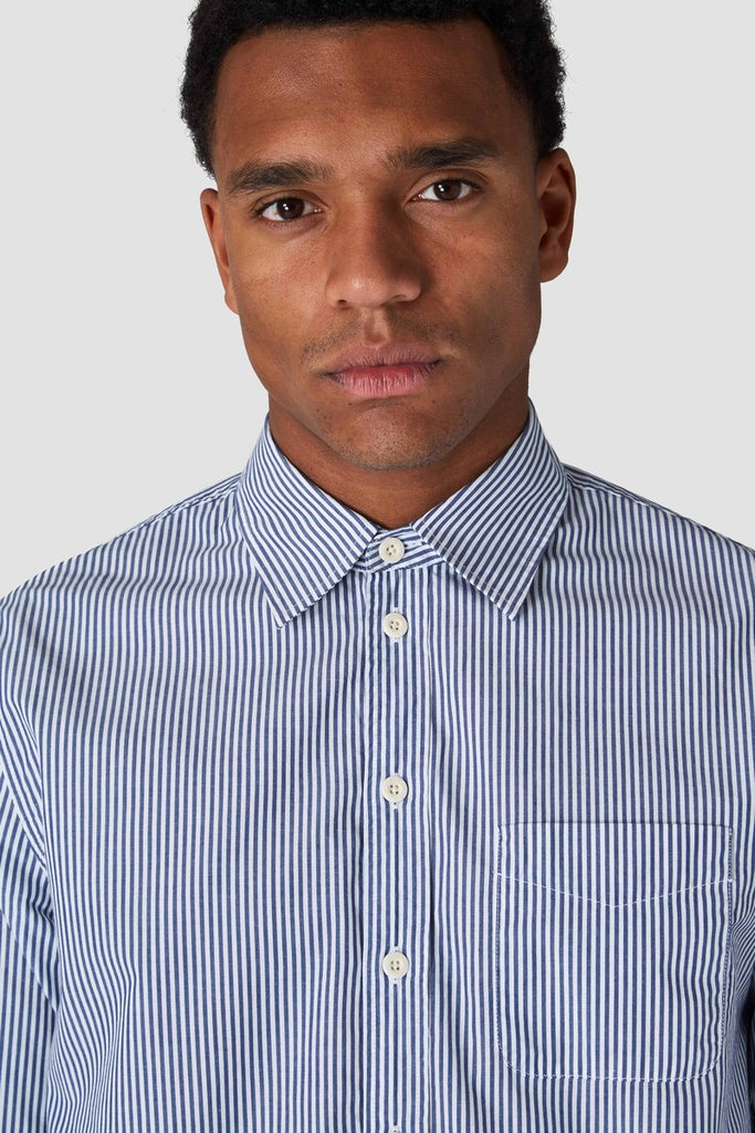 Enda navy stripe shirt, menswear, Kings Of Indigo, Milu James St