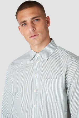 Enda pear green stripe shirt, menswear, Kings Of Indigo, Milu James St