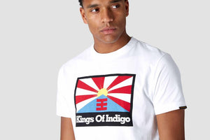 Darius rising sun flag tee white, menswear, Kings Of Indigo, Milu James St