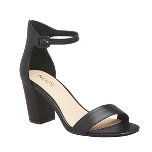 Silence Leather Heel in Black, Heels, Nude, Milu James St