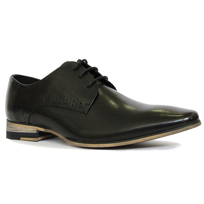 Plant Lace-Up Dress Shoe in Black Leather, Mens Formal, One 4 The Road, Milu James St