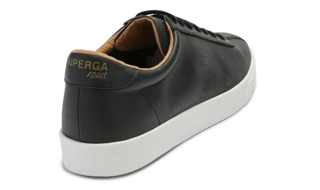 2843 Club S Black-White Mens Leather Trainer
