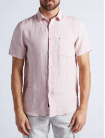Hampton Linen S/S Shirt in Musk