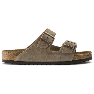 Arizona Suede Leather in Taupe (Soft-Footbed), Unisex Sandals, Birkenstock, Milu James St