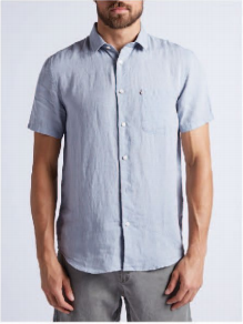 Hampton Linen S/S Shirt in Cement