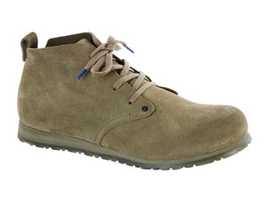 Dundee Plus Suede Leather in Khaki, Mens Boots, Birkenstock, Milu James St