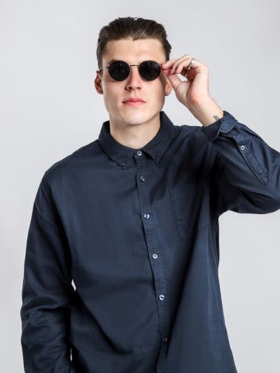 Dane Oxford ls shirt in dk navy, menswear, ARTICLE NO .1, Milu James St
