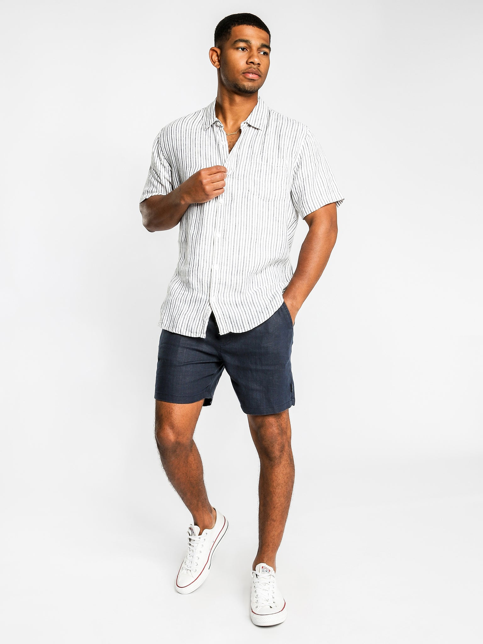 Noosa Linen Draw-short in Navy or Washed Olive, Mens Shorts, Article no 1, Milu James St