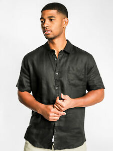 Noosa linen Short Sleeve Shirt in Navy or Black