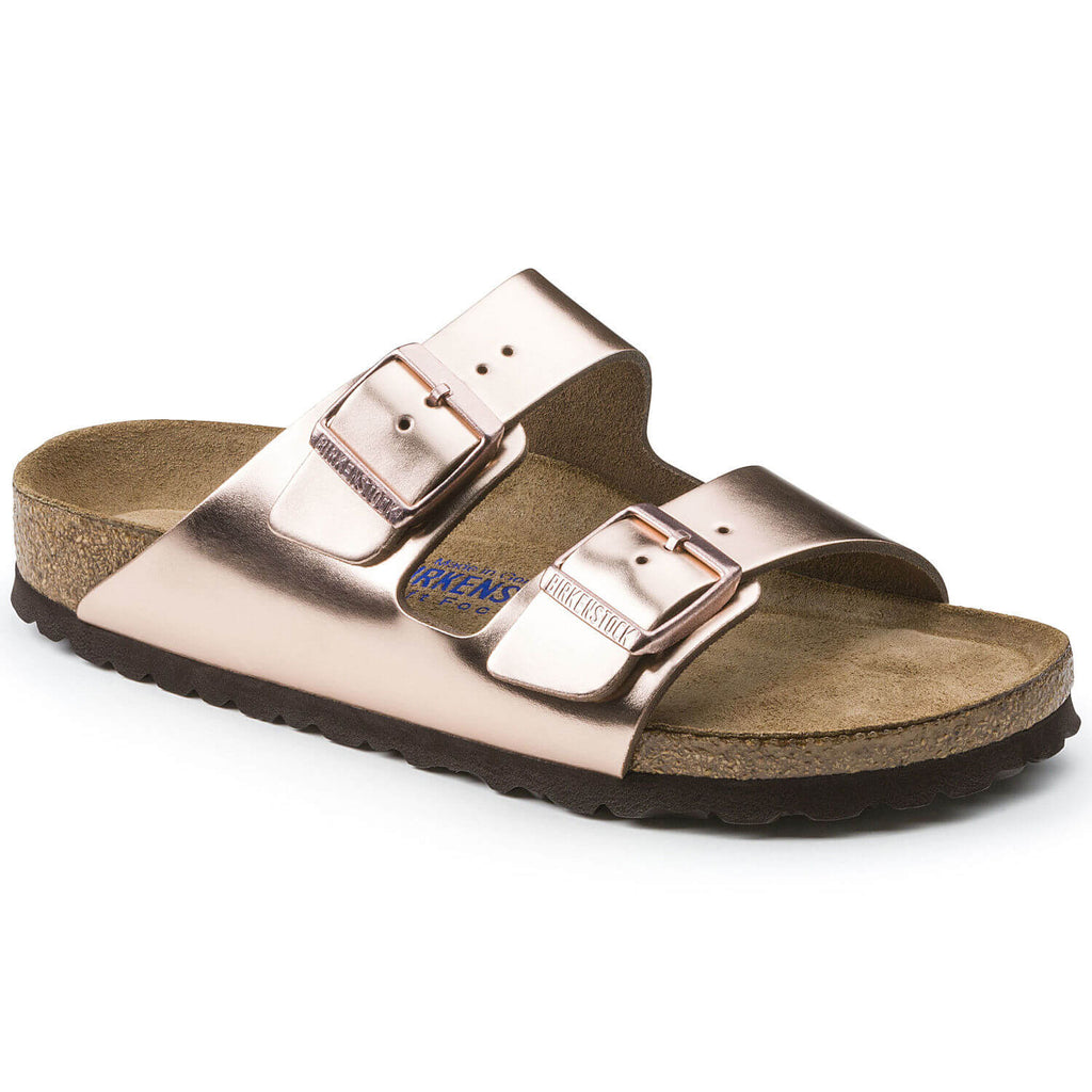 Arizona Leather in Metallic Copper (Soft Footbed), Sandals, Birkenstock, Milu James St