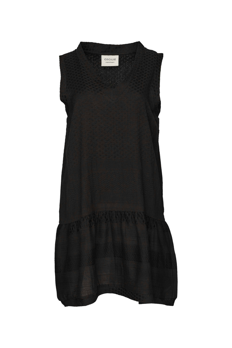Dress 2, V, No Sleeves, Black / Black