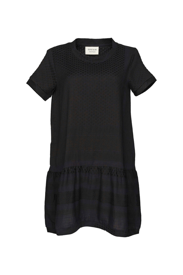 Dress 2, O, Short Sleeves, Black / Black