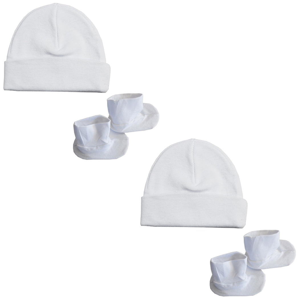 Cap & Bootie Set - White (pack Of 2)