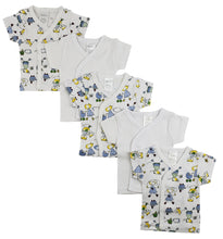 Load image into Gallery viewer, White Side Snap Short Sleeve Shirt - 5 Pack