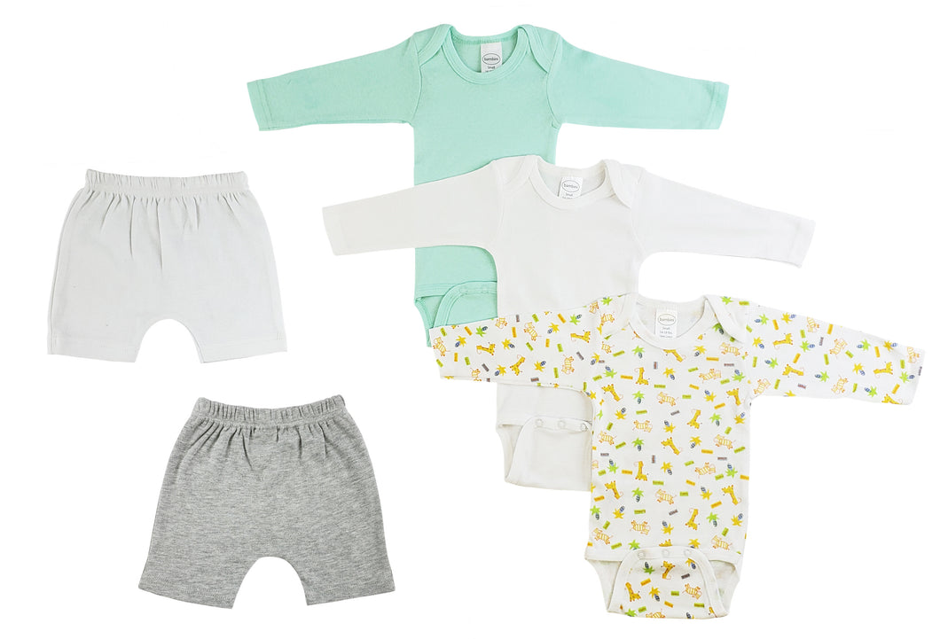 Infant Boys Long Sleeve Onezies And Shorts