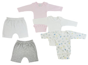 Infant Girls Long Sleeve Onezies And Shorts