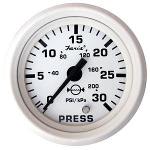 "Faria Dress White 2"" Water Pressure Gauge - 30 PSI"