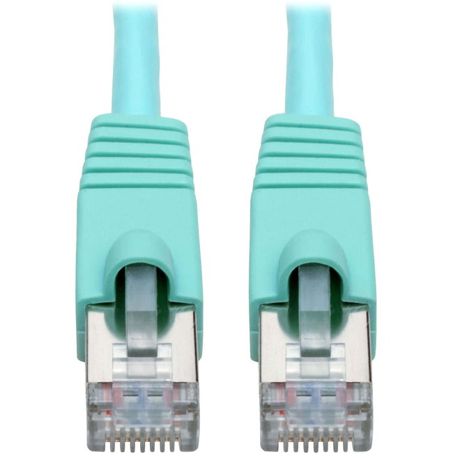 Tripp Lite Cat6a Snagless Shielded STP Patch Cable 10G, PoE, Aqua M-M 10ft