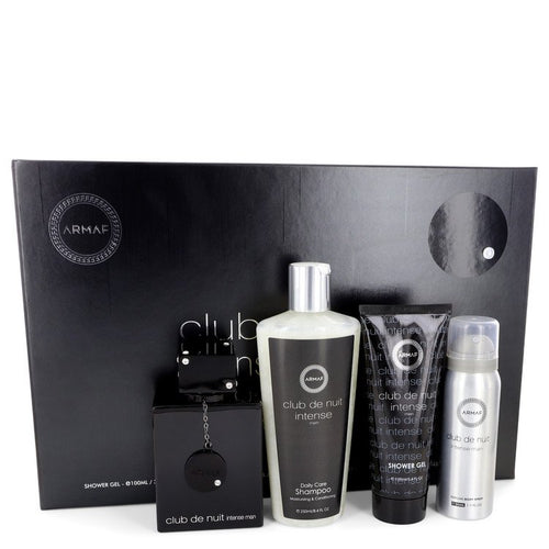 Club De Nuit Intense by Armaf Gift Set -- 3.6 oz Eau De Toilette Spray + 1.7 oz Body Spray + 3.4 oz Shower Gel + 8.4 oz Shampoo with Conditioner for Men