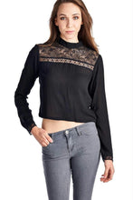 Load image into Gallery viewer, Women's Black Panel Long Sleeve Crop Top