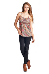 Women's Floral Printed Lace Tank