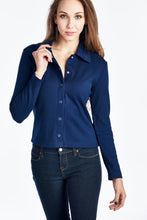 Load image into Gallery viewer, Women's Long Sleeve Button Down Top with Collar
