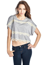 Load image into Gallery viewer, Women's Short Wing Keyhole Back Top with Lace Trim