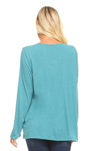 Women's Long Sleeve Gathered V-Neck Top