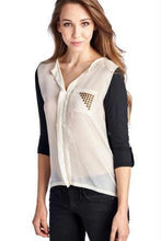 Load image into Gallery viewer, Women's Knit to Woven Colorblock Top with Pocket Heat Transfer