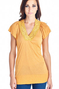 Women's Short Sleeve Jersey Lace V-neck Top