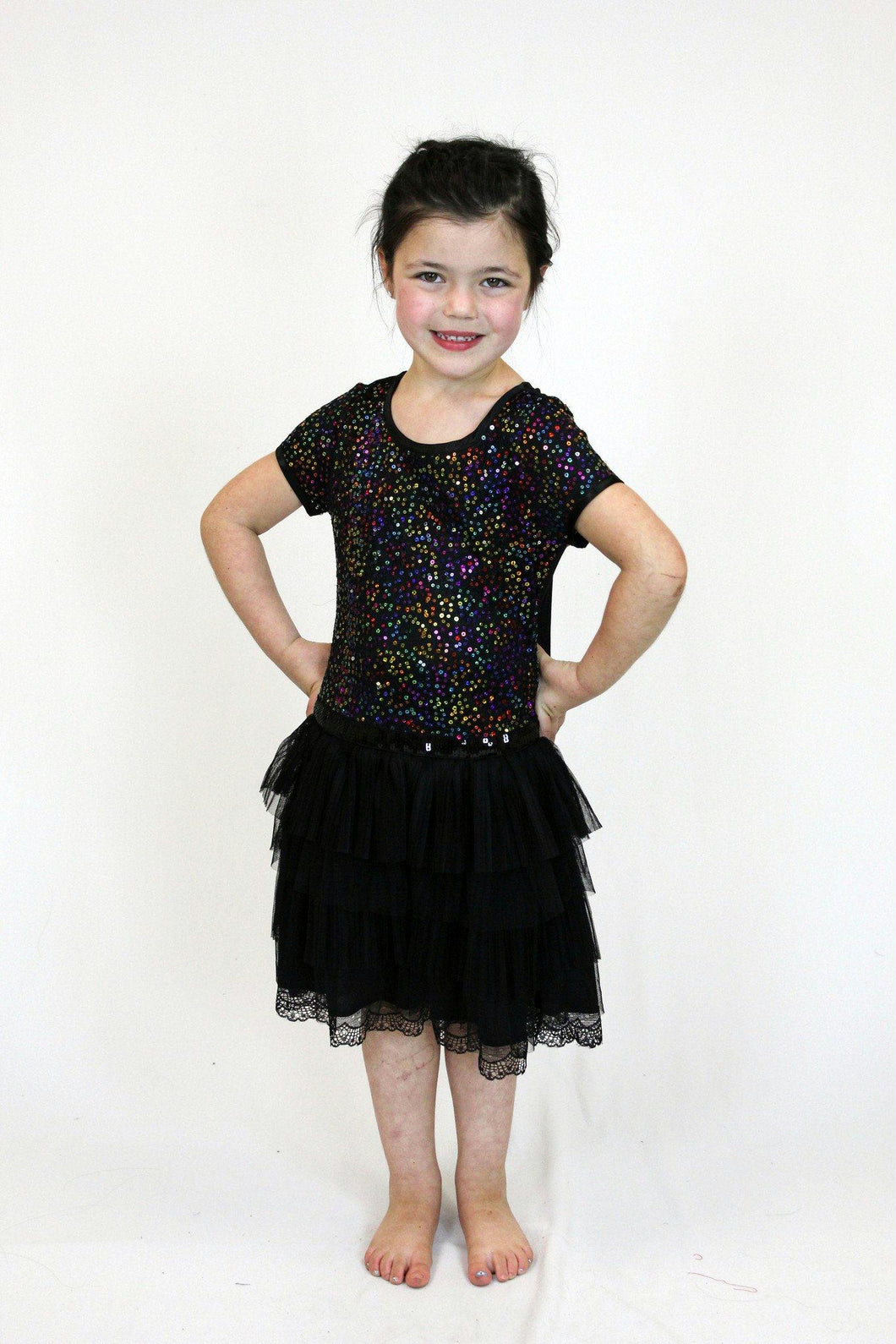 Girls Short Sleeve Sequin Tutu Dress