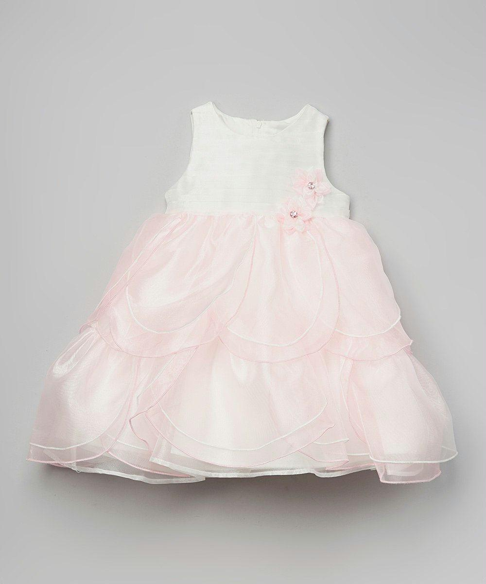 Toddler Sleeveless Satin Petal Dress with Rosette Trim