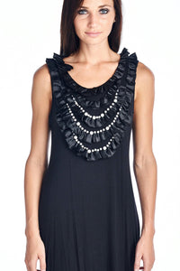 Women's Pearl Neck Trim Tank Dress