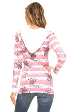 Load image into Gallery viewer, Women's Long Sleeve Printed Stripe Hooded Top