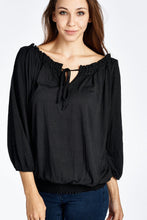 Load image into Gallery viewer, Women's Tie-Neck 3/4 Sleeve Peasant Top