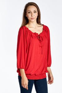 Women's Tie-Neck 3/4 Sleeve Peasant Top