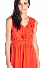 Load image into Gallery viewer, Women's Empire Waist Smocked Ruffle V-Neck Dress