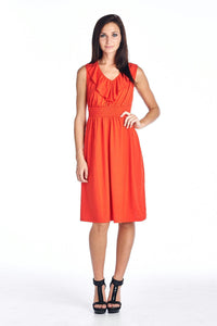 Women's Empire Waist Smocked Ruffle V-Neck Dress