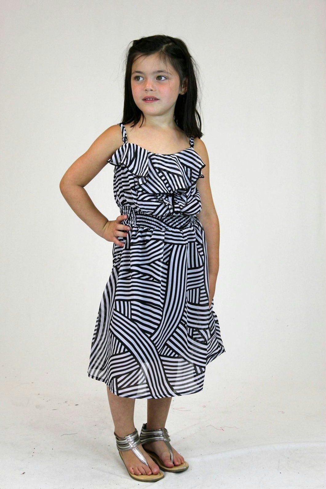 Girls Sleeveless Printed Chiffon Dress