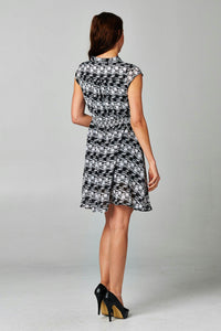 Women's Printed Tie Neck Dress