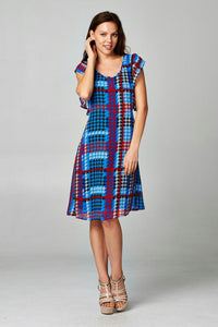 Women's Printed Chiffon Houndstooth Dress