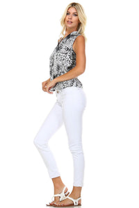 Women's Split Back V-Neck Sleeveless Printed Top