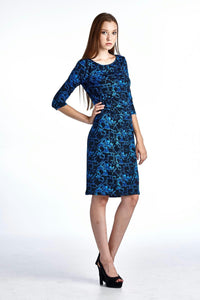 Women's 3/4 Three Quarter Sleeve Slim Fit Sheath Dress with Abstract Patterns