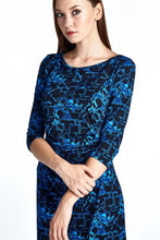 Load image into Gallery viewer, Women's 3/4 Three Quarter Sleeve Slim Fit Sheath Dress with Abstract Patterns