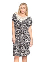 Load image into Gallery viewer, Women's Ikat Print Dress with Crochet Yoke Trim
