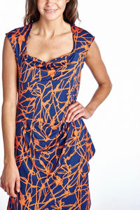 Women's Abstract Printed Drape Dress